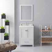 Caroline Avenue 24'' Single Bathroom Vanity Set in White, Dazzle White Quartz Top with Square Sink, Mirror Included
