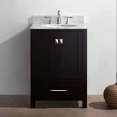 Caroline Avenue 24'' Single Bathroom Vanity Set in Espresso, Italian Carrara White Marble Top with Round Sink