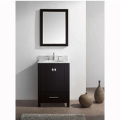 Caroline Avenue 24'' Single Bathroom Vanity Set in Espresso, Italian Carrara White Marble Top with Round Sink, Available with Optional Faucet, Mirror Included