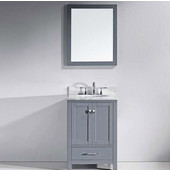Caroline Avenue 24'' Single Bathroom Vanity Set in Grey, Italian Carrara White Marble Top with Round Sink, Mirror Included