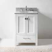 Caroline Avenue 24'' Single Bathroom Vanity Set in White, Italian Carrara White Marble Top with Round Sink