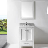 Caroline Avenue 24'' Single Bathroom Vanity Set in White, Italian Carrara White Marble Top with Round Sink, Available with Optional Faucet, Mirror Included