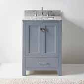 Caroline Avenue 24'' Single Bathroom Vanity Set in Grey, Italian Carrara White Marble Top with Square Sink