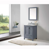 Caroline Avenue 24'' Single Bathroom Vanity Set in Grey, Italian Carrara White Marble Top with Square Sink, Brushed Nickel Faucet, Mirror Included