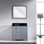 Caroline Avenue 36'' Single Bathroom Vanity Set in Grey, Black Galaxy Granite Top with Round Sink, Mirror Included