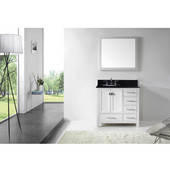 Caroline Avenue 36'' Single Bathroom Vanity Set in White, Black Galaxy Granite Top with Round Sink, Mirror Included