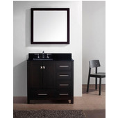 Caroline Avenue 36'' Single Bathroom Vanity Set in Espresso, Black Galaxy Granite Top with Square Sink, Polished Chrome Faucet, Mirror Included