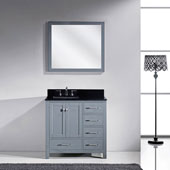 Caroline Avenue 36'' Single Bathroom Vanity Set in Grey, Black Galaxy Granite Top with Square Sink, Brushed Nickel Faucet, Mirror Included