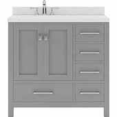 Caroline Avenue 36'' Single Bathroom Vanity Set in Cashmere Grey, Dazzle White Quartz Top with Round Sink