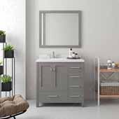 Caroline Avenue 36'' Single Bathroom Vanity Set in Cashmere Grey, Dazzle White Quartz Top with Round Sink, Brushed Nickel Faucets, Mirror Included