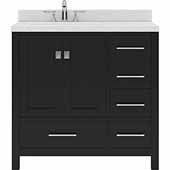 Caroline Avenue 36'' Single Bathroom Vanity Set in Espresso, Dazzle White Quartz Top with Round Sink