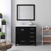 Caroline Avenue 36'' Single Bathroom Vanity Set in Espresso, Dazzle White Quartz Top with Round Sink, Brushed Nickel Faucets, Mirror Included