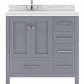 Caroline Avenue 36'' Single Bathroom Vanity Set in Grey, Dazzle White Quartz Top with Round Sink