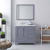 Caroline Avenue 36'' Single Bathroom Vanity Set in Grey, Dazzle White Quartz Top with Round Sink, Polished Chrome Faucets, Mirror Included