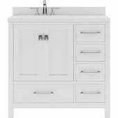 Caroline Avenue 36'' Single Bathroom Vanity Set in White, Dazzle White Quartz Top with Round Sink