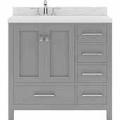 Caroline Avenue 36'' Single Bathroom Vanity Set in Cashmere Grey, Dazzle White Quartz Top with Square Sink