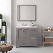 Caroline Avenue 36'' Single Bathroom Vanity Set in Cashmere Grey, Dazzle White Quartz Top with Square Sink, Polished Chrome Faucets, Mirror Included