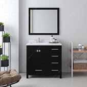 Caroline Avenue 36'' Single Bathroom Vanity Set in Espresso, Dazzle White Quartz Top with Square Sink, Polished Chrome Faucets, Mirror Included