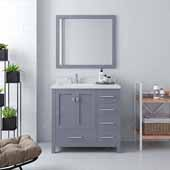 Caroline Avenue 36'' Single Bathroom Vanity Set in Grey, Dazzle White Quartz Top with Square Sink, Polished Chrome Faucets, Mirror Included
