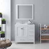 Caroline Avenue 36'' Single Bathroom Vanity Set in White, Dazzle White Quartz Top with Square Sink, Polished Chrome Faucets, Mirror Included