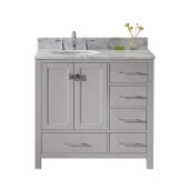 Caroline Avenue 36'' Single Bathroom Vanity Set in Cashmere Grey, Italian Carrara White Marble Top with Round Sink