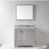 Caroline Avenue 36'' Single Bathroom Vanity Set in Cashmere Grey, Italian Carrara White Marble Top with Round Sink, Mirror Included