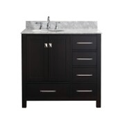 Caroline Avenue 36'' Single Bathroom Vanity Set in Espresso, Italian Carrara White Marble Top with Round Sink