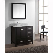 Caroline Avenue 36'' Single Bathroom Vanity Set in Espresso, Italian Carrara White Marble Top with Round Sink, Available with Optional Faucet, Mirror Included