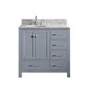 Caroline Avenue 36'' Single Bathroom Vanity Set in Grey, Italian Carrara White Marble Top with Round Sink