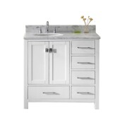 Caroline Avenue 36'' Single Bathroom Vanity Set in White, Italian Carrara White Marble Top with Round Sink, Brushed Nickel Faucet