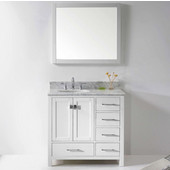 Caroline Avenue 36'' Single Bathroom Vanity Set in White, Italian Carrara White Marble Top with Round Sink, Available with Optional Faucet, Mirror Included