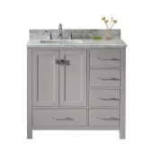 Caroline Avenue 36'' Single Bathroom Vanity Set in Cashmere Grey, Italian Carrara White Marble Top with Square Sink