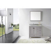 Caroline Avenue 36'' Single Bathroom Vanity Set in Cashmere Grey, Italian Carrara White Marble Top with Square Sink, Polished Chrome Faucet, Mirror Included