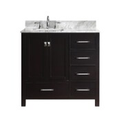 Caroline Avenue 36'' Single Bathroom Vanity Set in Espresso, Italian Carrara White Marble Top with Square Sink