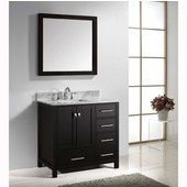 Caroline Avenue 36'' Single Bathroom Vanity Set in Espresso, Italian Carrara White Marble Top with Square Sink, Available with Optional Faucet, Mirror Included