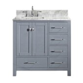 Caroline Avenue 36'' Single Bathroom Vanity Set in Grey, Italian Carrara White Marble Top with Square Sink