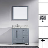 Caroline Avenue 36'' Single Bathroom Vanity Set in Grey, Italian Carrara White Marble Top with Square Sink, Brushed Nickel Faucet, Mirror Included