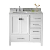 Caroline Avenue 36'' Single Bathroom Vanity Set in White, Italian Carrara White Marble Top with Square Sink