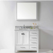 Caroline Avenue 36'' Single Bathroom Vanity Set in White, Italian Carrara White Marble Top with Square Sink, Available with Optional Faucet, Mirror Included