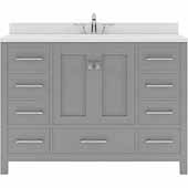 Caroline Avenue 48'' Single Bathroom Vanity Set in Cashmere Grey, Dazzle White Quartz Top with Round Sink