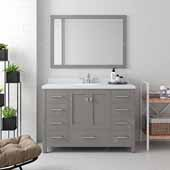 Caroline Avenue 48'' Single Bathroom Vanity Set in Cashmere Grey, Dazzle White Quartz Top with Round Sink, Polished Chrome Faucets, Mirror Included