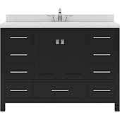 Caroline Avenue 48'' Single Bathroom Vanity Set in Espresso, Dazzle White Quartz Top with Round Sink
