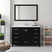 Caroline Avenue 48'' Single Bathroom Vanity Set in Espresso, Dazzle White Quartz Top with Round Sink, Polished Chrome Faucets, Mirror Included