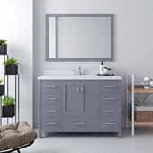Caroline Avenue 48'' Single Bathroom Vanity Set in Grey, Dazzle White Quartz Top with Round Sink, Brushed Nickel Faucets, Mirror Included