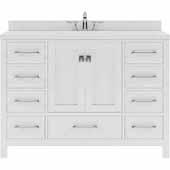 Caroline Avenue 48'' Single Bathroom Vanity Set in White, Dazzle White Quartz Top with Round Sink