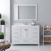 Caroline Avenue 48'' Single Bathroom Vanity Set in White, Dazzle White Quartz Top with Round Sink, Polished Chrome Faucets, Mirror Included
