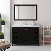 Caroline Avenue 48'' Single Bathroom Vanity Set in Espresso, Dazzle White Quartz Top with Square Sink, Brushed Nickel Faucets, Mirror Included