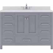 Caroline Avenue 48'' Single Bathroom Vanity Set in Grey, Dazzle White Quartz Top with Square Sink