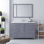Caroline Avenue 48'' Single Bathroom Vanity Set in Grey, Dazzle White Quartz Top with Square Sink, Brushed Nickel Faucets, Mirror Included