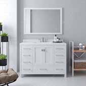 Caroline Avenue 48'' Single Bathroom Vanity Set in White, Dazzle White Quartz Top with Square Sink, Brushed Nickel Faucets, Mirror Included